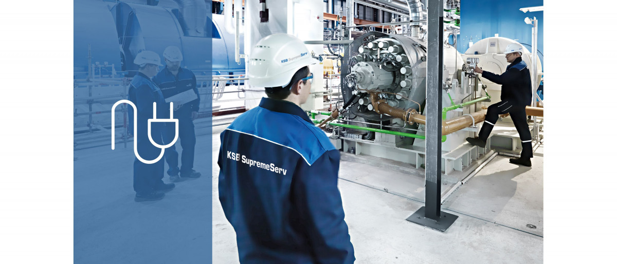 Montatori del servizio assistenza KSB nella centrale elettrica durante la messa in funzione di una pompa