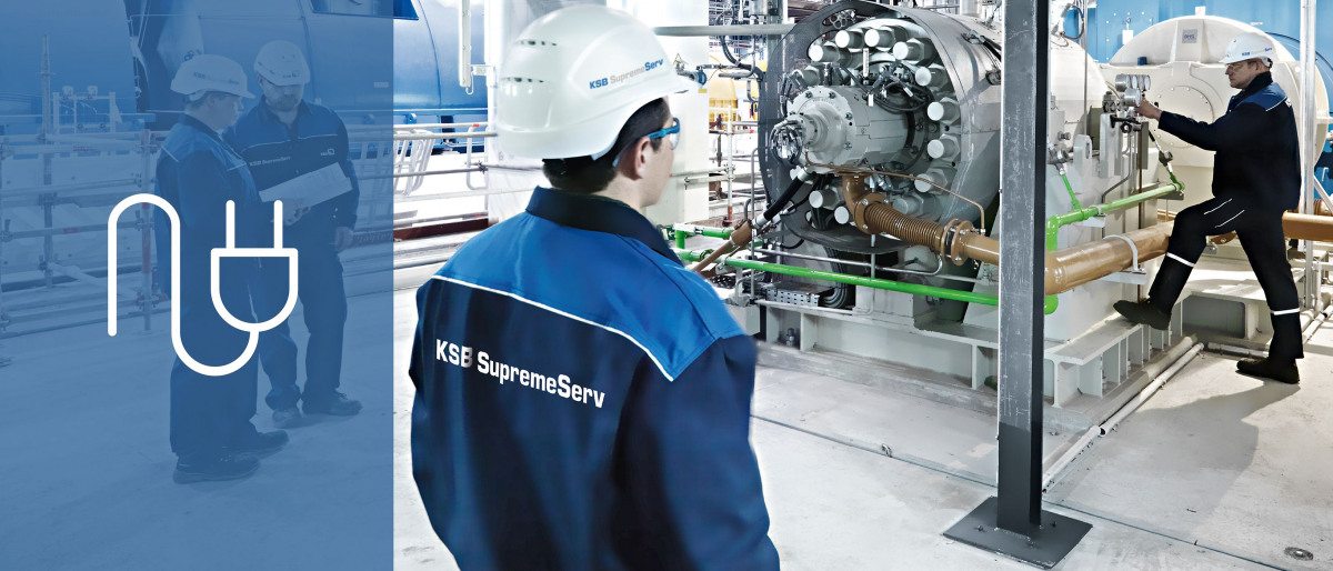KSB-servicemontör på kraftverk vid idrifttagning av en matarvattenpump