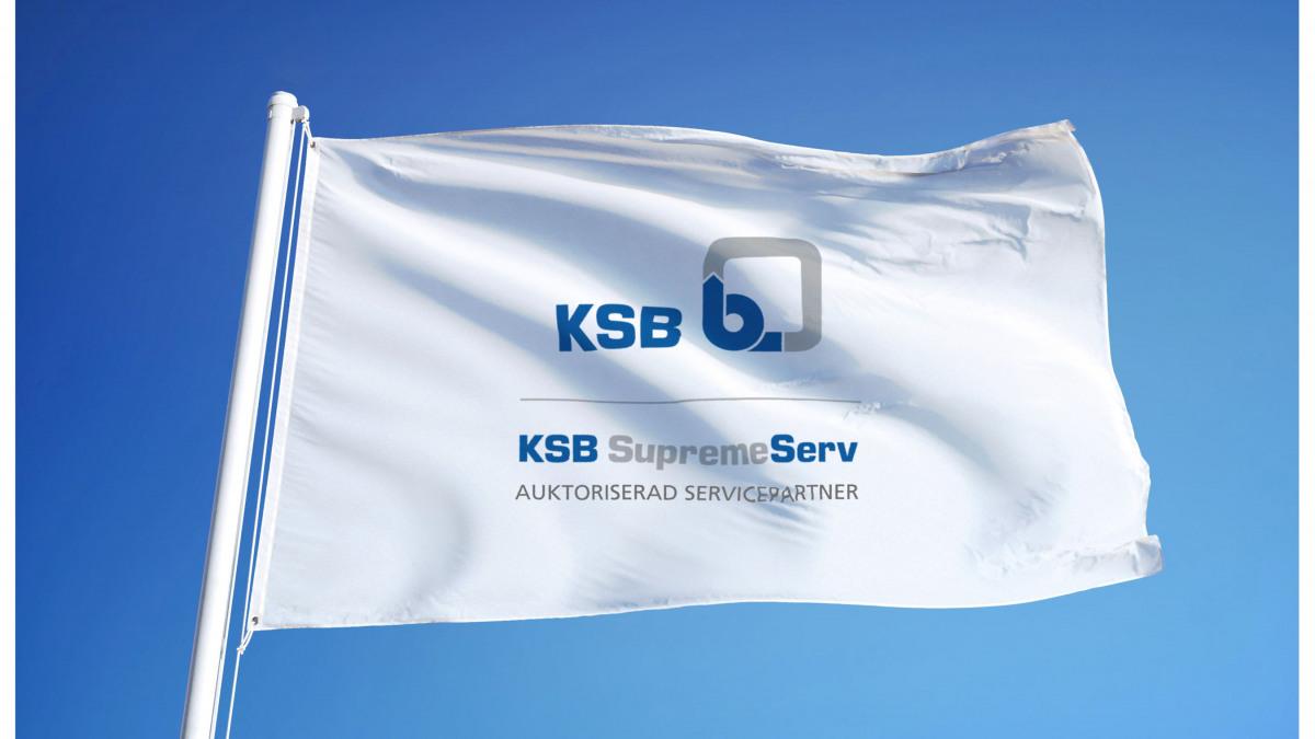 Flagga med märke för auktoriserad KSB-servicepartner
