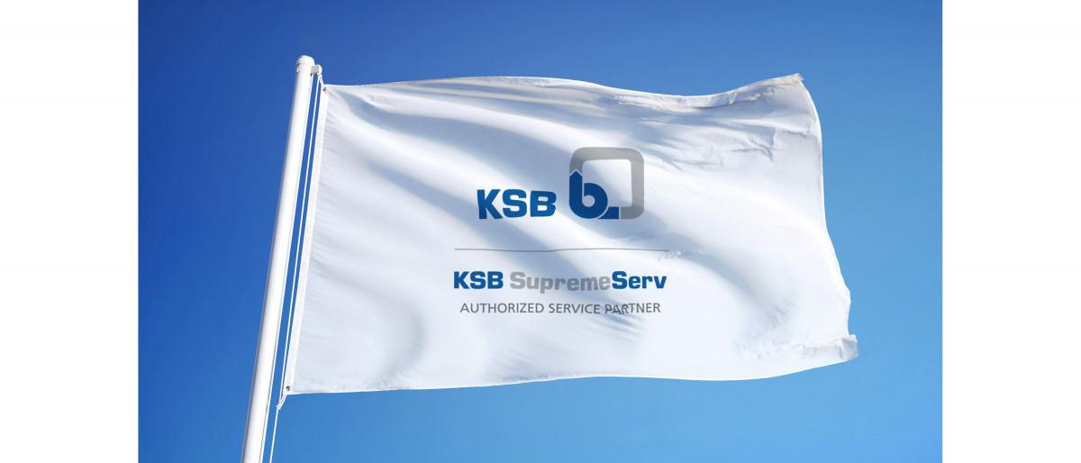 Valtuutetun KSB-huoltokumppanin lippu, jossa on tuotemerkki