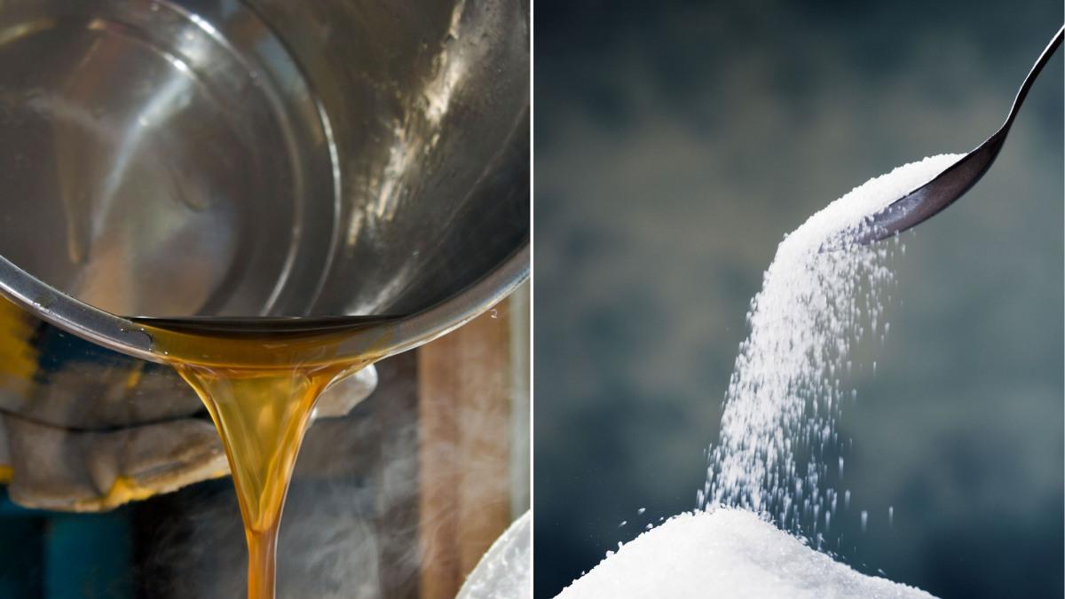 Zuckerrübensaft und kristalliner Zucker