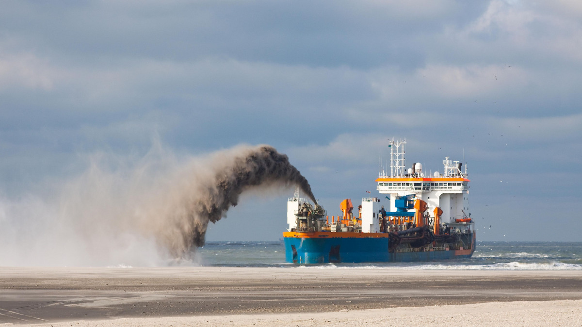 Dredger in operation