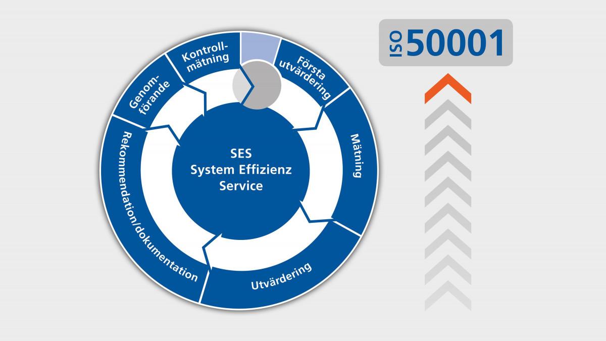 Ritning över processen för SES-systemanalys enligt ISO 50001
