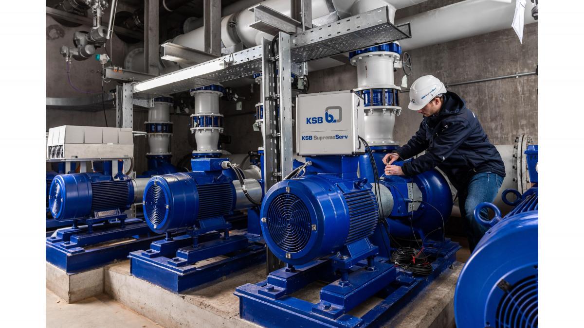 Analysetool SES System Effizienz Service®, aangesloten op een pomp