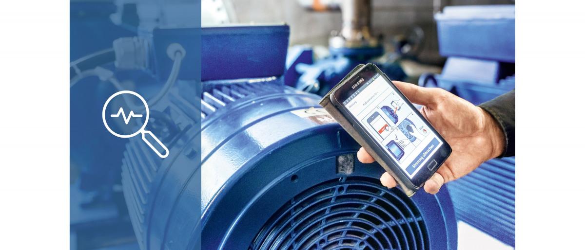 Meting van het ventilatorgeluid van een asynchroonmotor met de KSB Sonolyzer-app