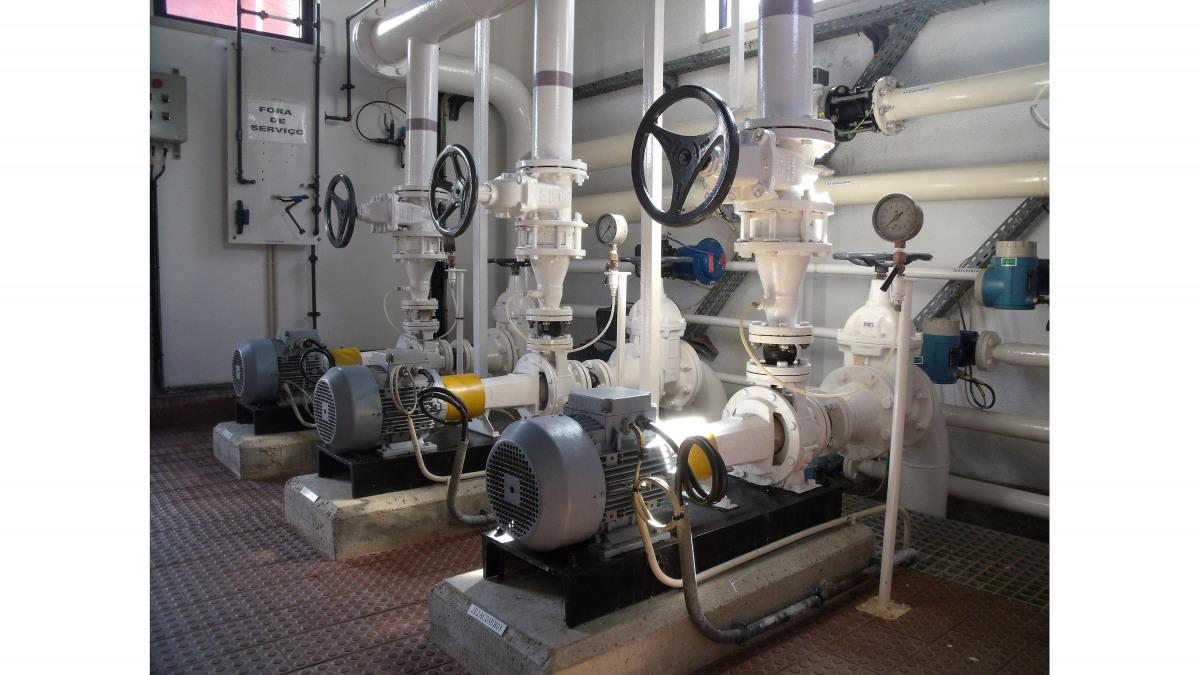 KSB Etachrom horizontal pumps for treated water distribution in the Tavira plant.