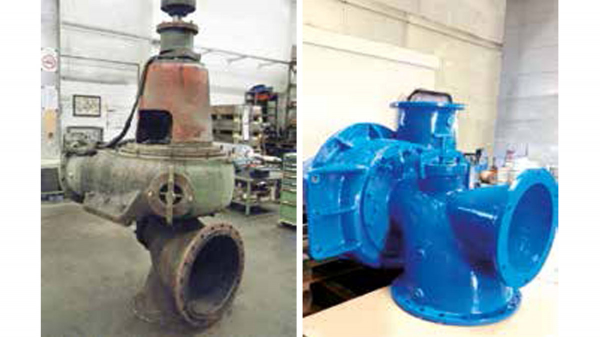 Non-clogging impeller pump before and after cleaning