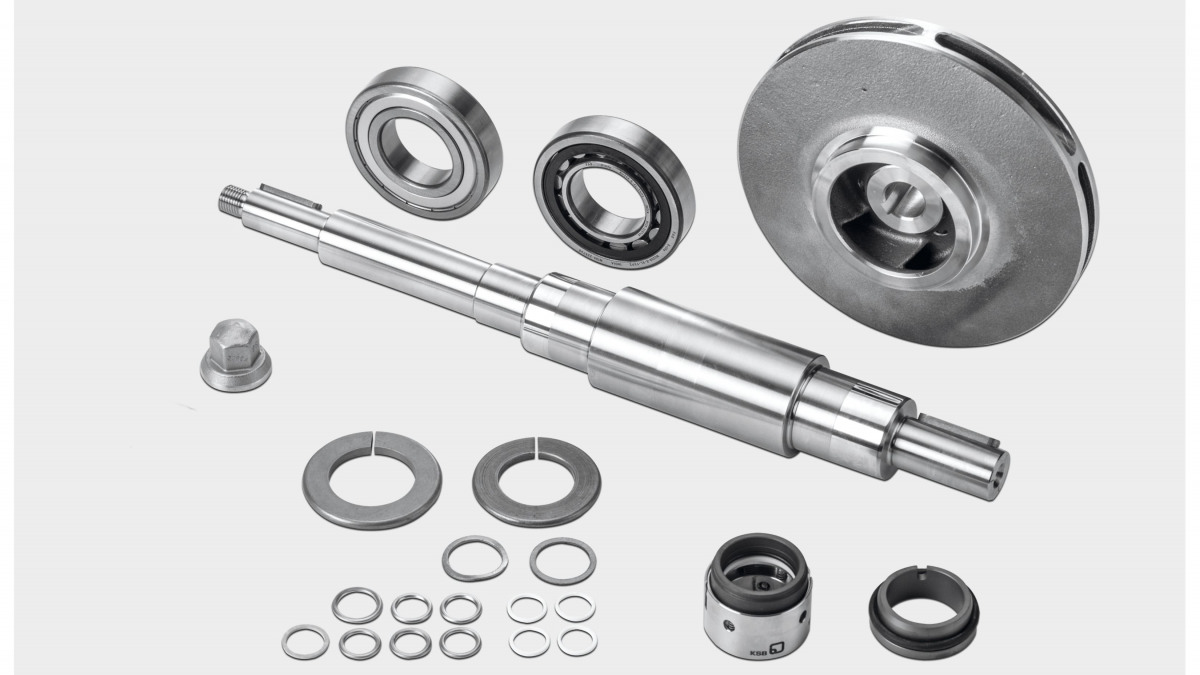 KSB 泵 MegaCPK 备件包的备件概览 - 包含叶轮、驱动轴和机械密封