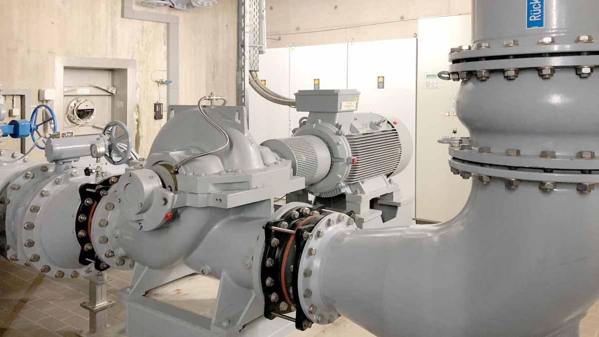 Grey Omega pump with pipes in the drinking water treatment plant