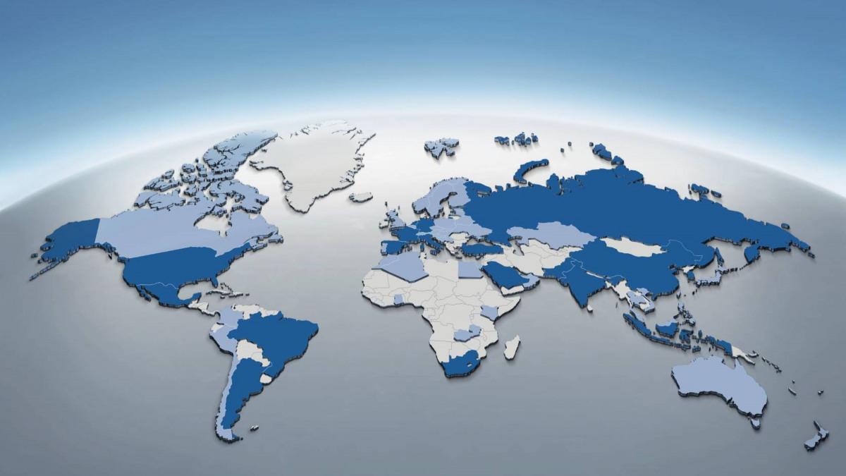 包含 KSB 全球驻地的地球仪