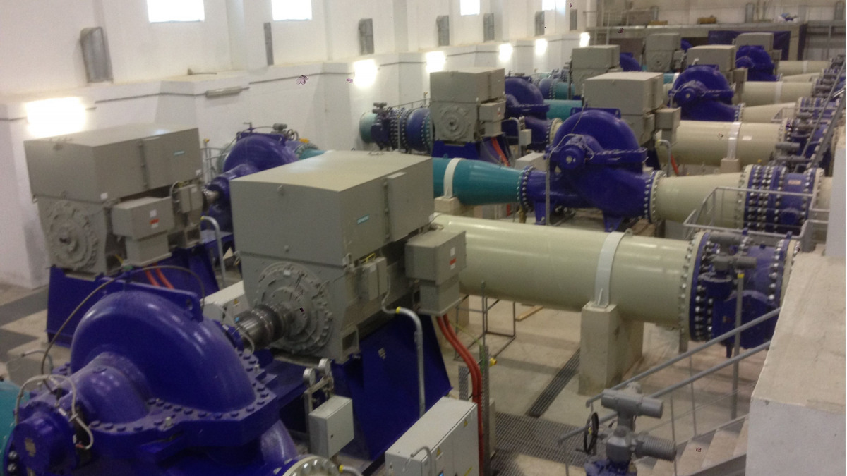 Oued Seguin pumping station equipped with ten RDLO 700-980 volute casing pumps from KSB SE & Co. KGaA