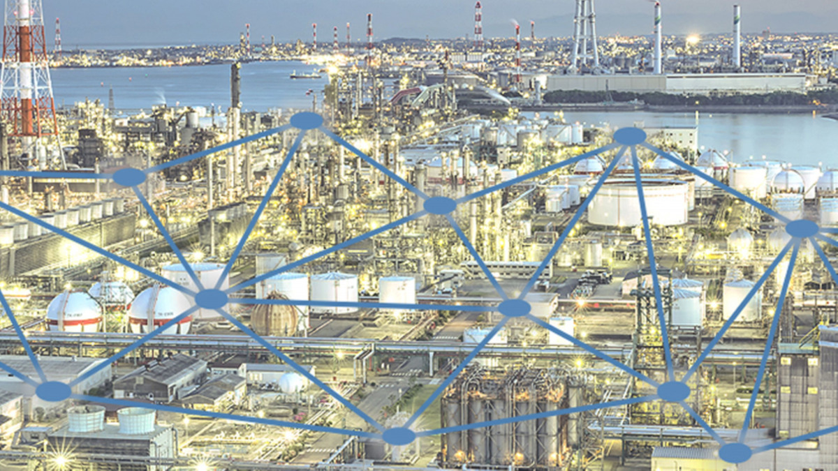Schematic diagram of a data network in a production plant
