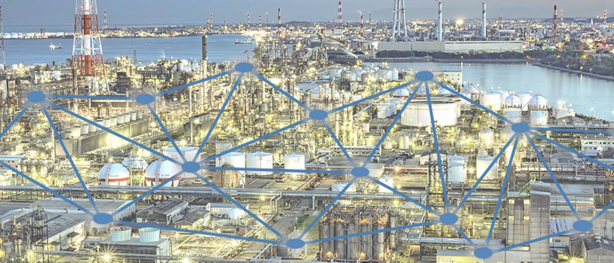 Rappresentazione schematica di una connessione dati in un impianto di produzione