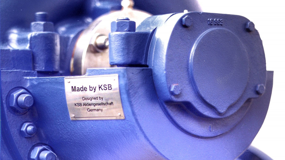 Made by KSB product nameplate
