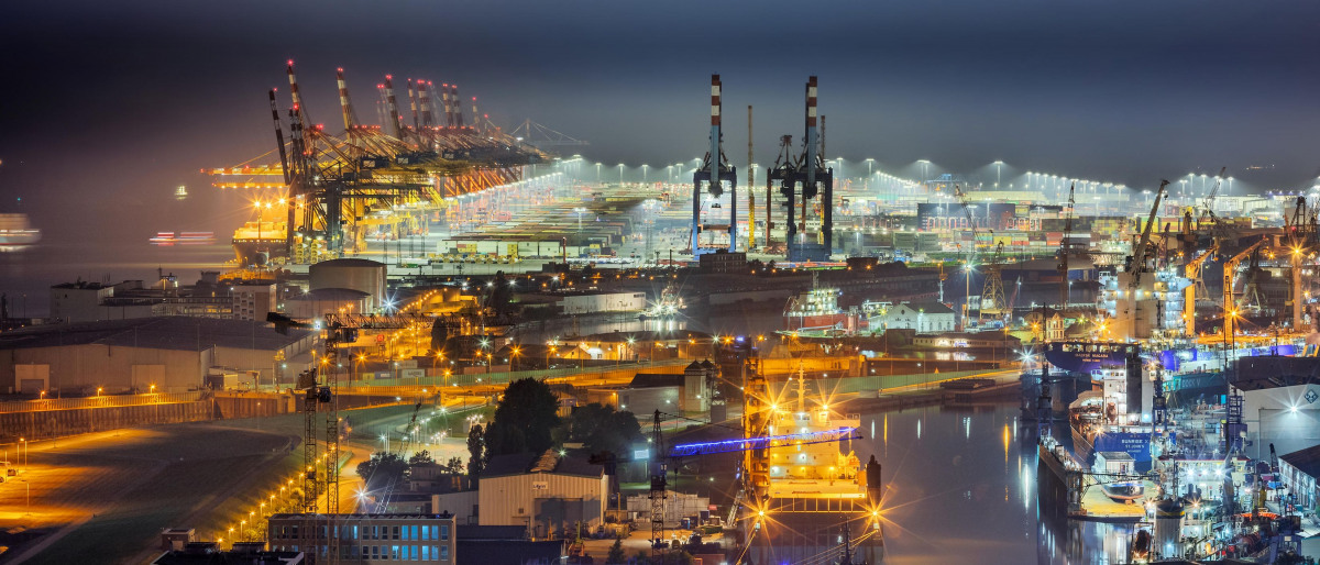 View of the city of Bremerhaven at night
