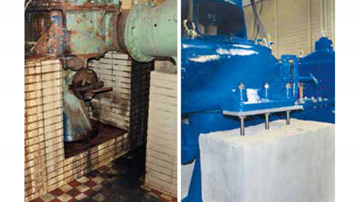 Pumpe und Fundament vor und nach der Sanierung