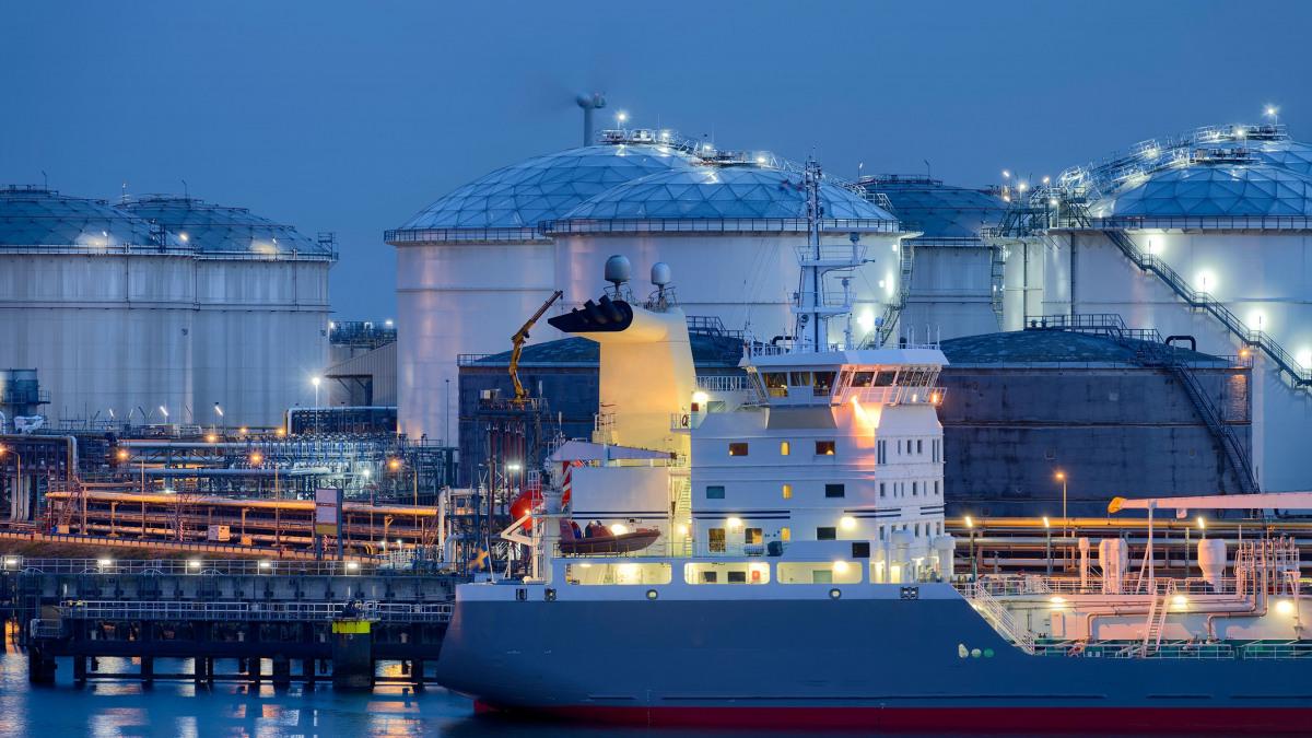 Oil tanker in a port
