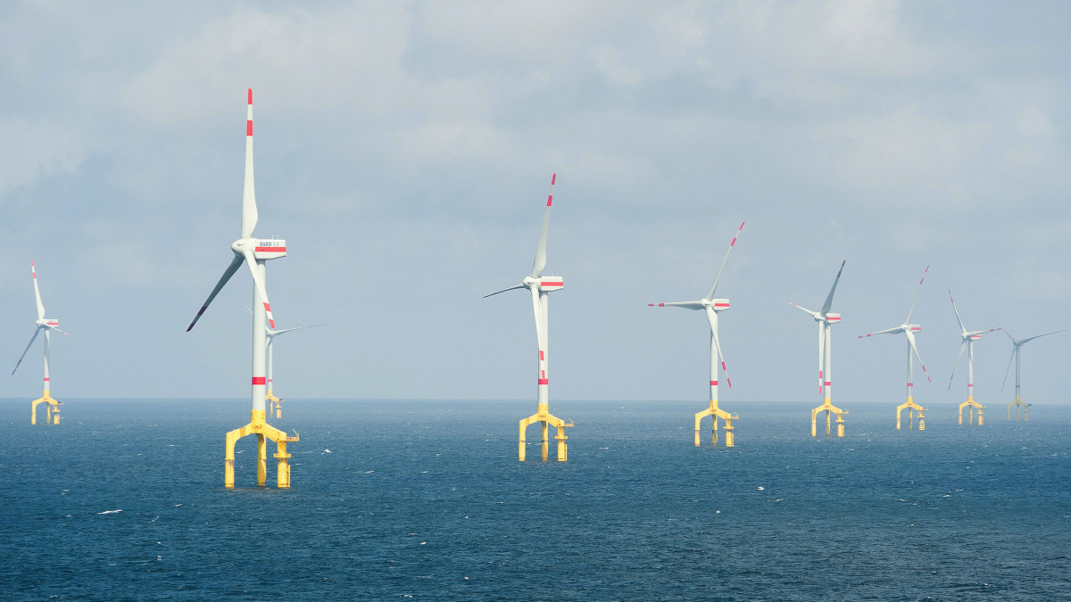 Several wind turbines of the BARD Offshore1 wind park in the North Sea