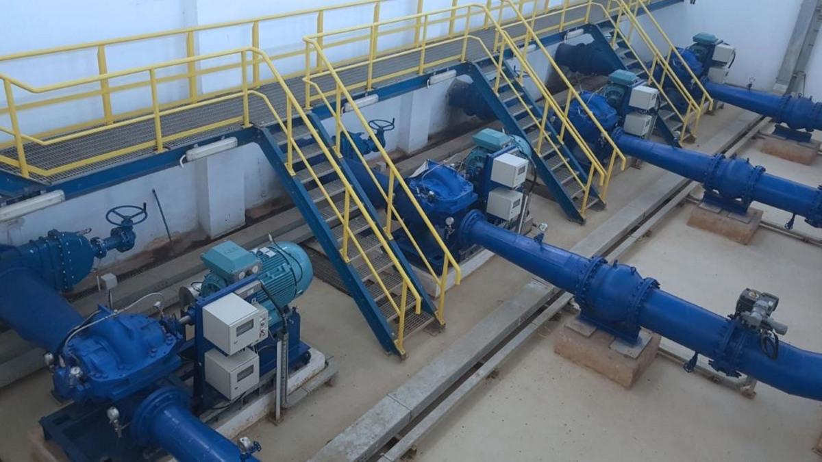 Die neue Pumpstation ist mit neun axial geteilten, einstufigen Spiralgehäusepumpen der Baureihe RDLO ausgerüstet.