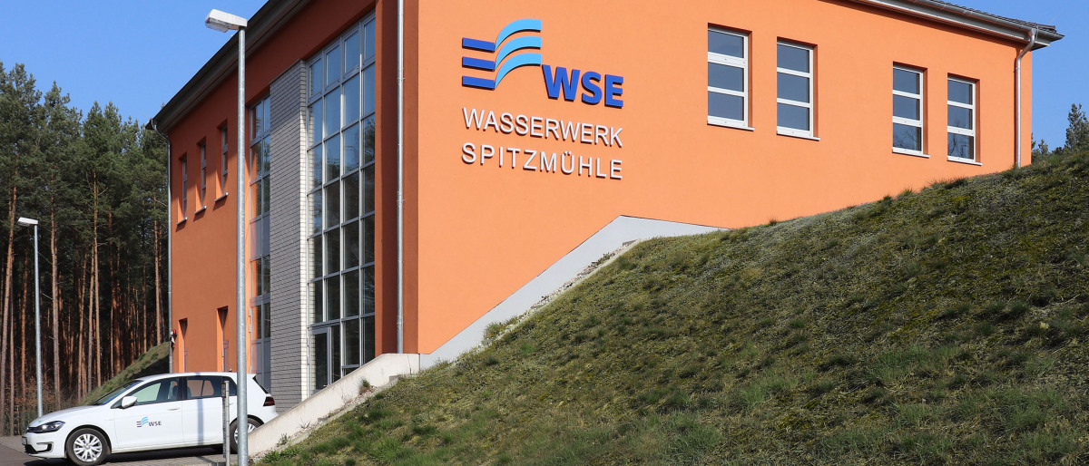 The Spitzmühle waterworks building from outside
