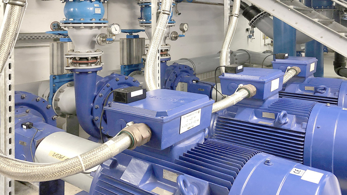 Multiple KSB Guard monitoring tools mounted on different Etanorm pumps
