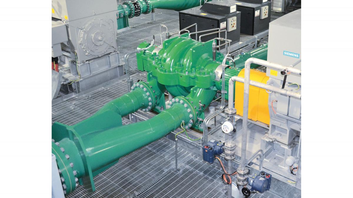 KSB RDLP 350-700/2 volute casing pump in operation at the Ravenswood Pump Station, Australia