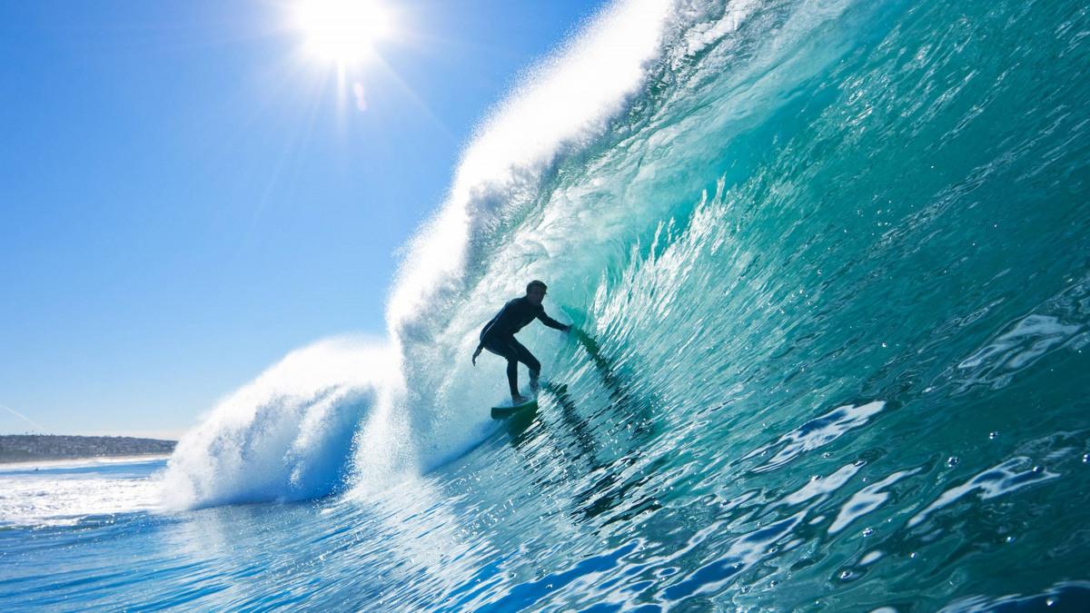 Surfing a big wave