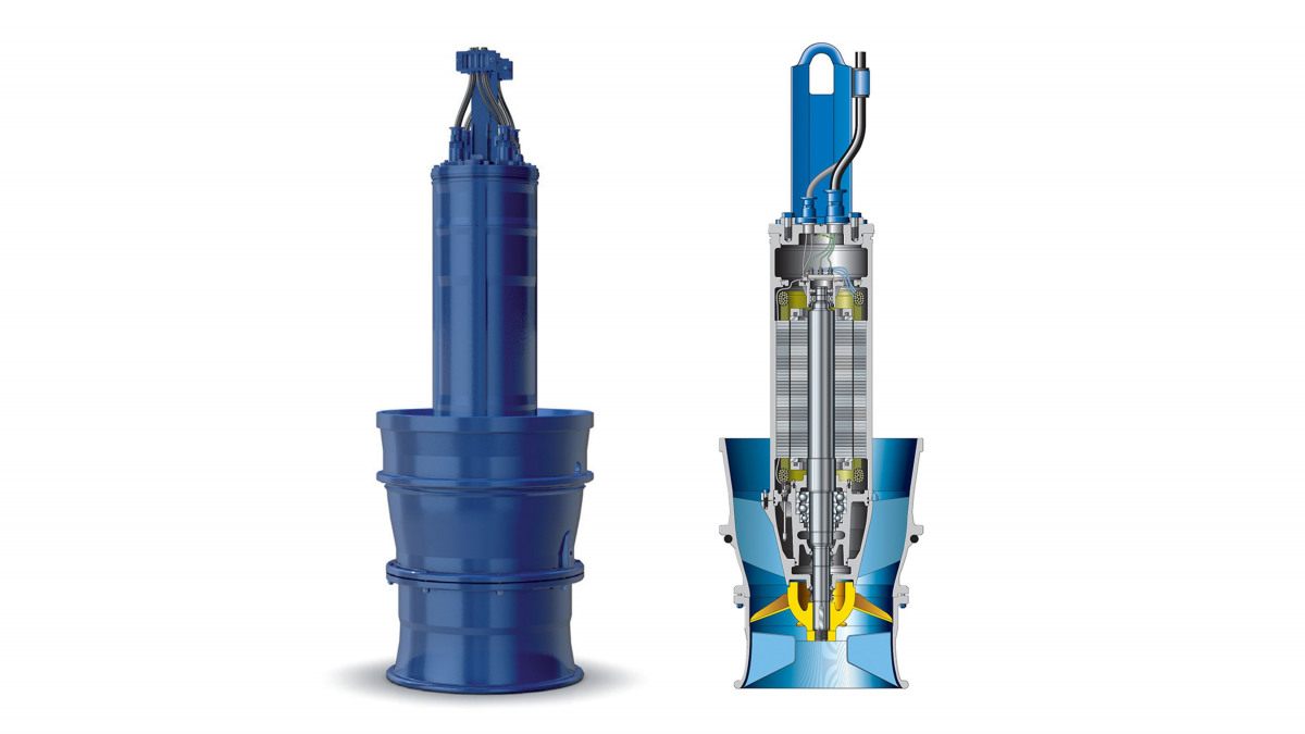 Schematic drawing of KSB's Amacan P submersible motor pump with propeller