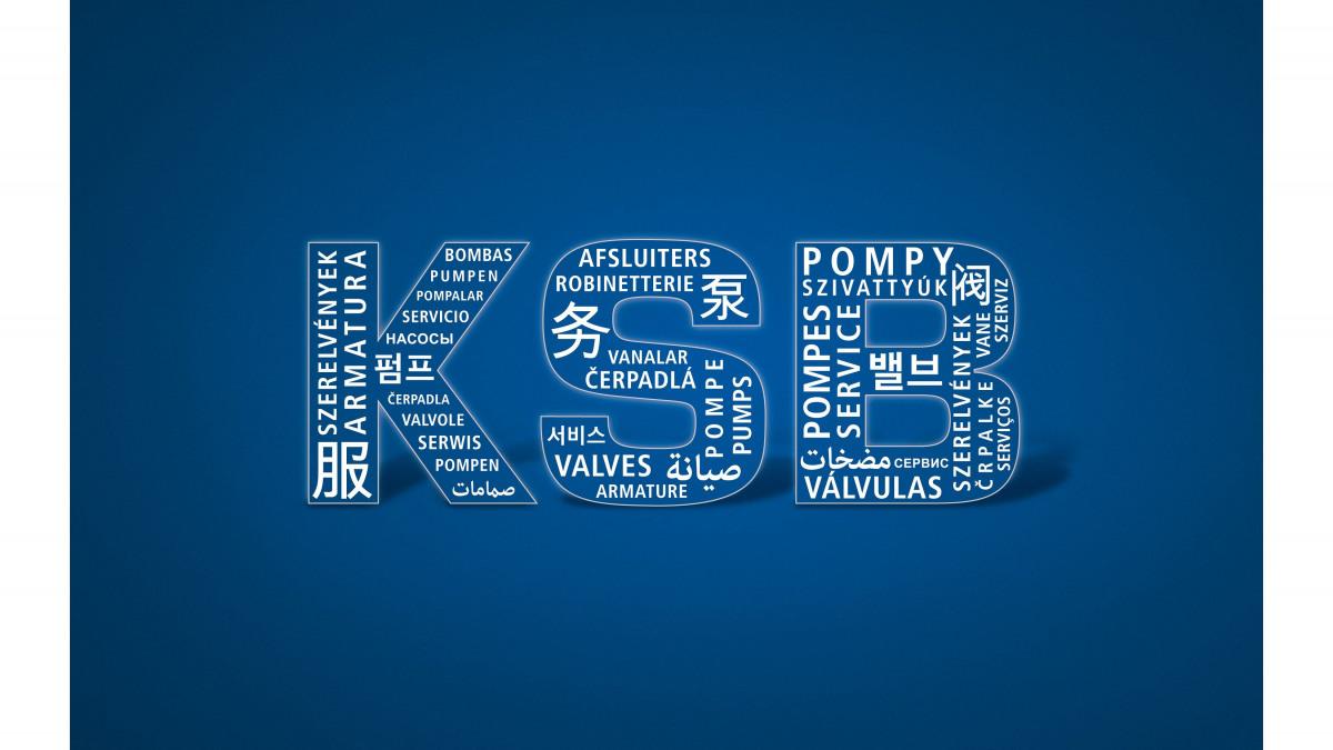 Letras de KSB sobre fondo azul