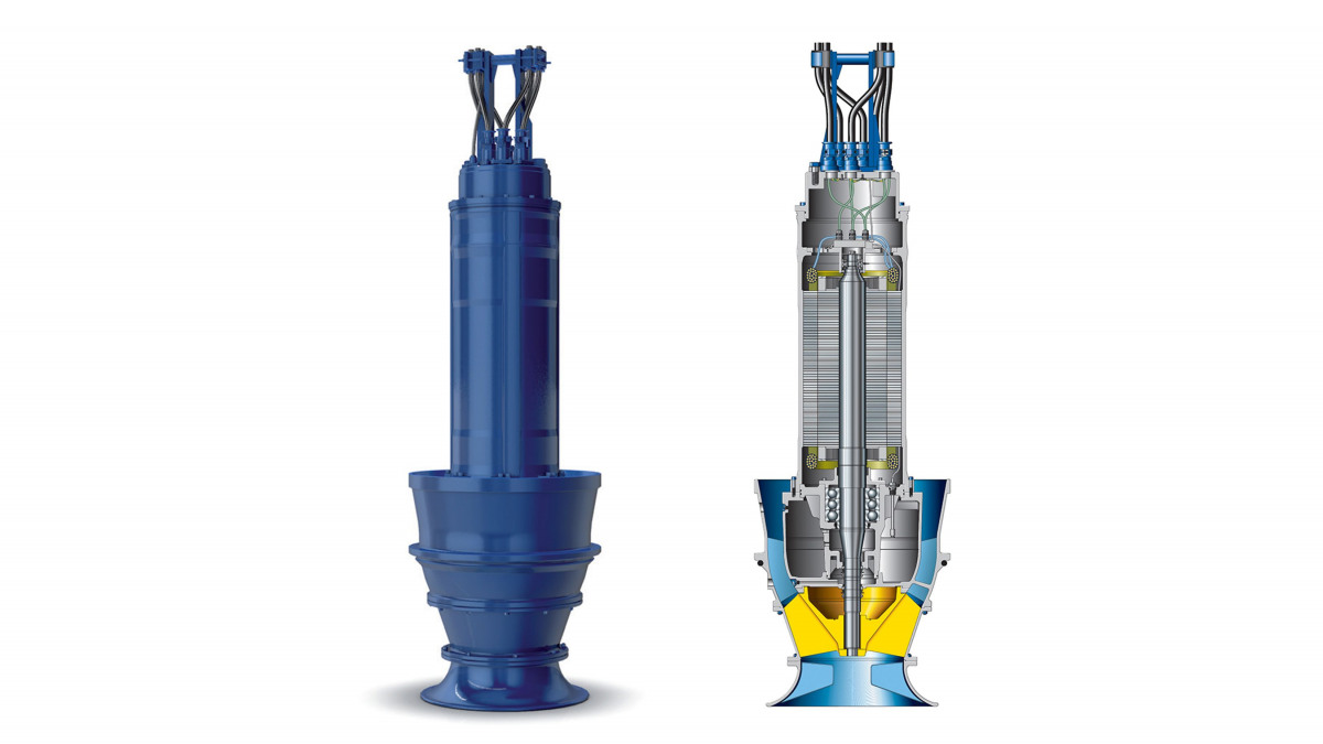Schematic drawing of KSB's Amacan S submersible motor pump with mixed flow impeller