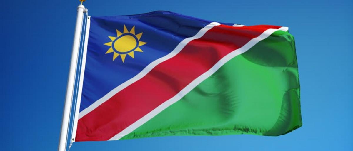 Namibian flag and blue sky