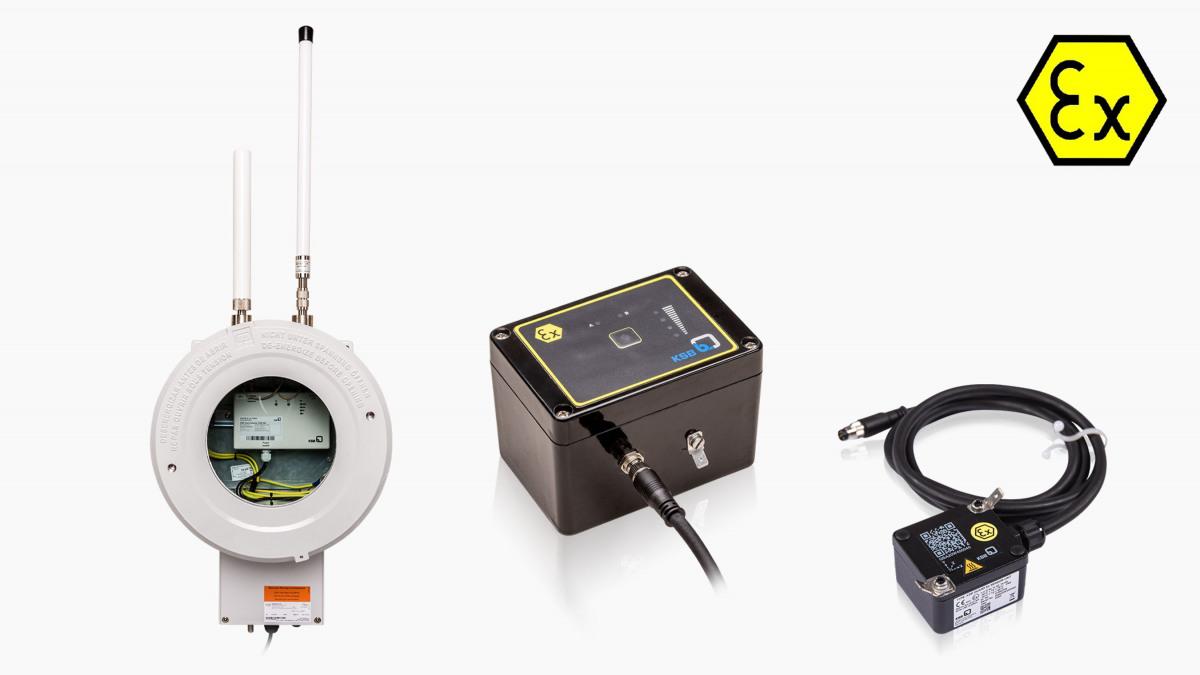 Die KSB Guard Komponenten in EX-Ausführung: KSB Guard Sensoreinheit, KSB Guard Sende- und Batterieeinheit und KSB Guard Gateway