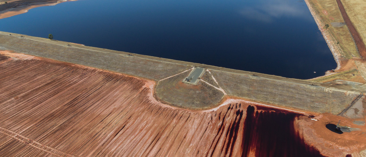Quarry lake and settling tank