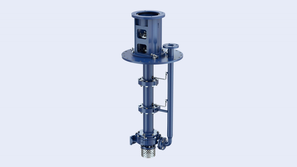 The vertically suspended pumps of the Estigia type series for installation in tanks under atmospheric pressure.