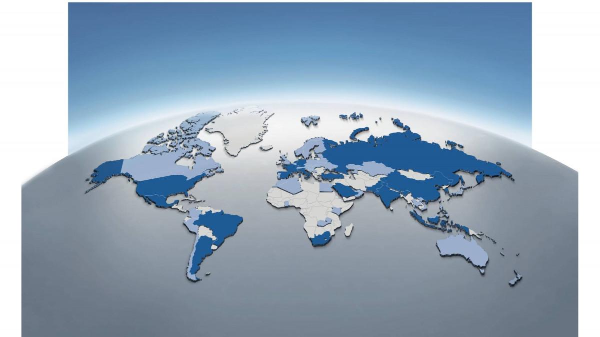 Globo terráqueo con ubicaciones de KSB en todo el mundo