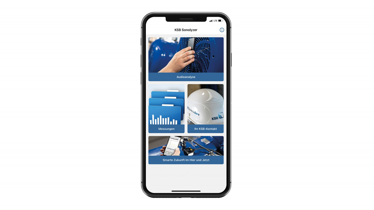 Smartphone mit KSB Sonolyzer®-App