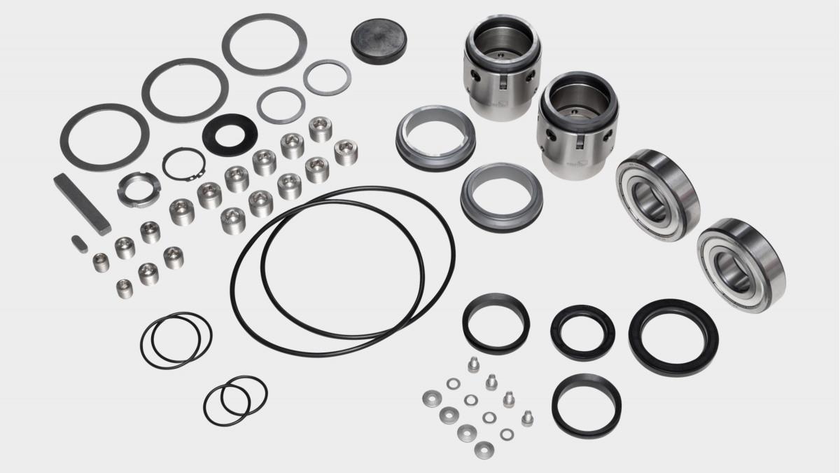 Übersicht der Ersatzteile eines Ersatzteil-Kits für eine KSB Pumpe Omega – inklusive Laufrad, Welle und Gleitringdichtung