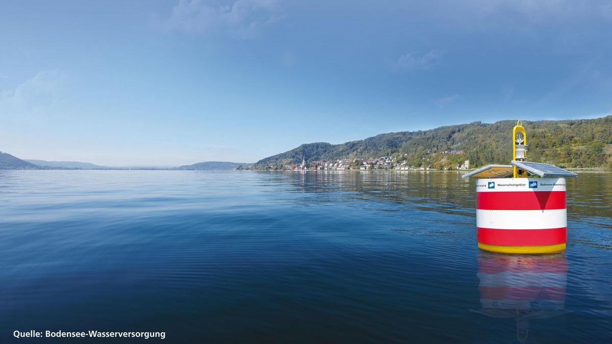 Bojen begrenzen die Wasserschutzzone im Bodensee