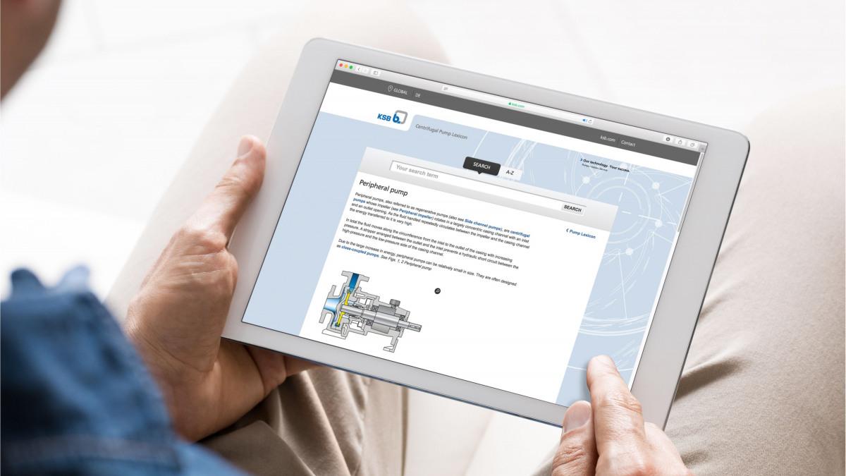 Mitarbeiter hält eine Tablet mit Abbildung einer Pumpein beiden Händen