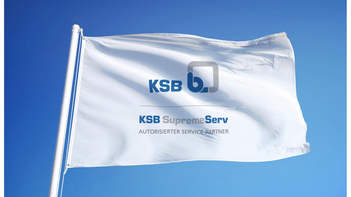 Flagge mit Branding der autorisierten KSB Service-Partner