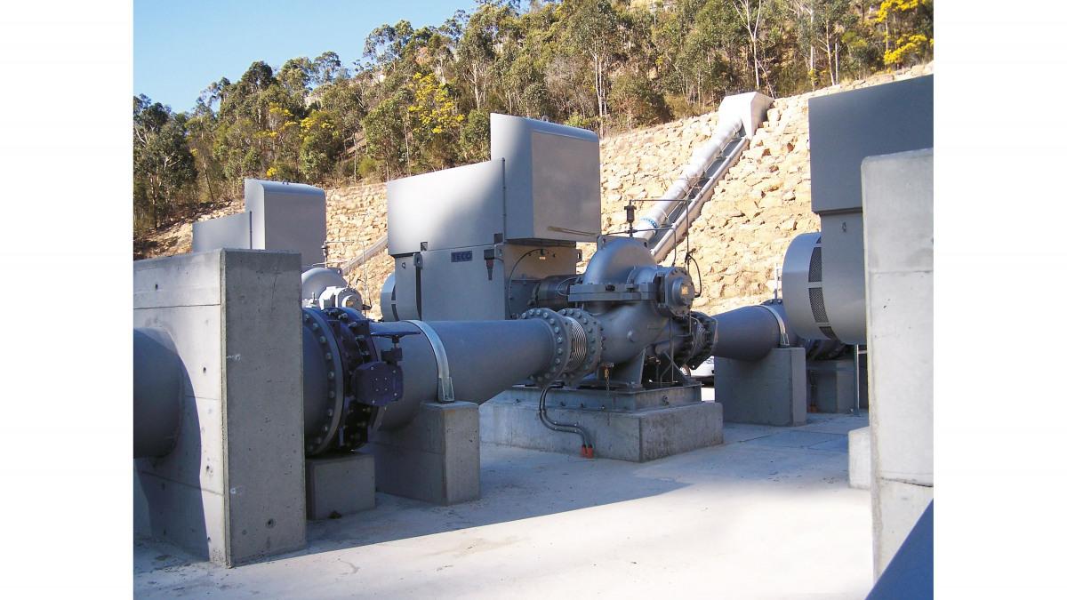 Pumpstation mit Wassertransportpumpen