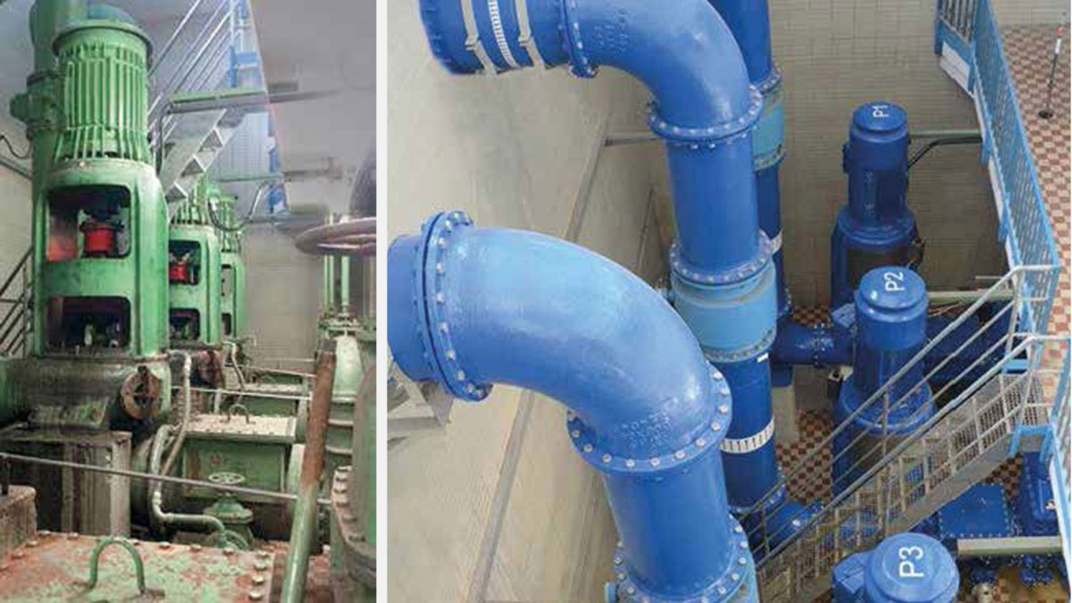 Zustand des Pumpwerks vor Arbeitsbeginn (li) und die fertiggestellte Anlage (re)