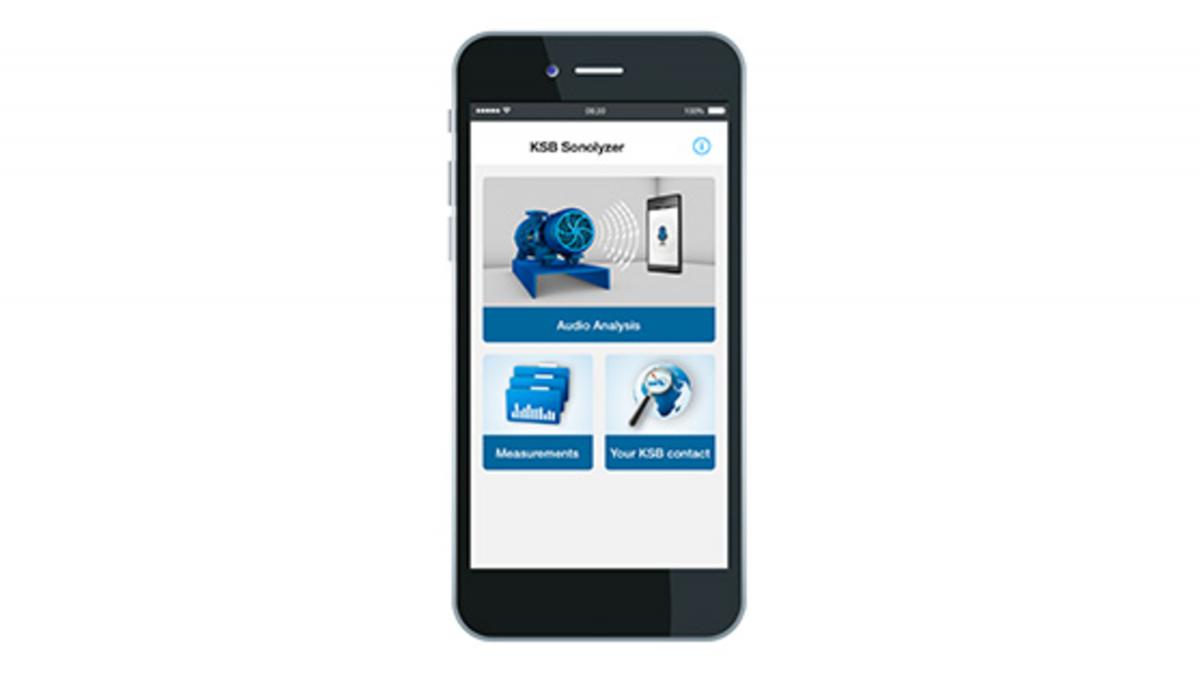 Älypuhelin, jossa on KSB Sonolyzer® -sovellus