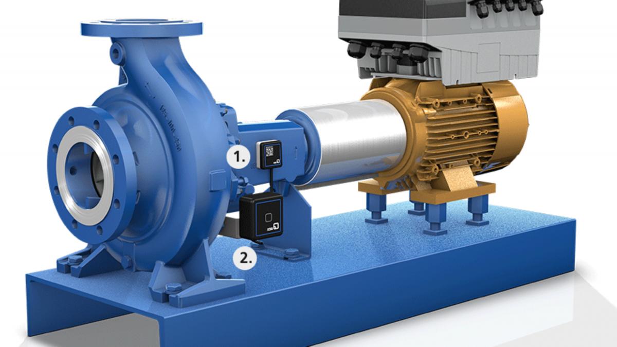 Pump utrustad med KSB Guard-sensorenhet samt sändnings- och batterienhet