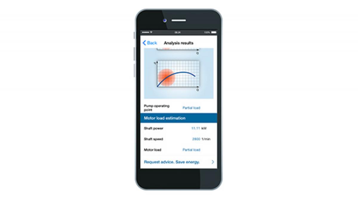 Smartphone met KSB Sonolyzer®-app