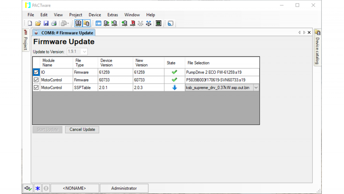 Näyttökuva KSB ServiceToolissa käynnissä olevasta päivitysprosessista
