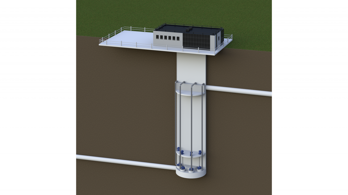 Rendering of an example lifting station for a deep-tunnel water project