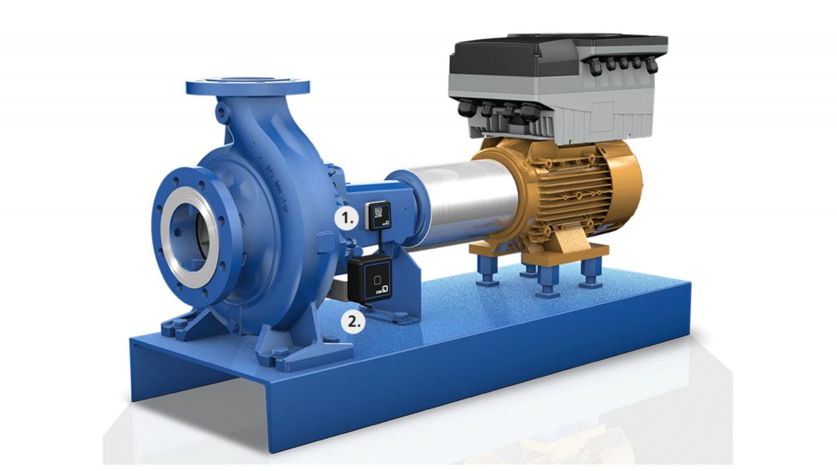 Pumpe ausgestattet mit KSB Guard Sensoreinheit sowie Sende- und Batterieeinheit